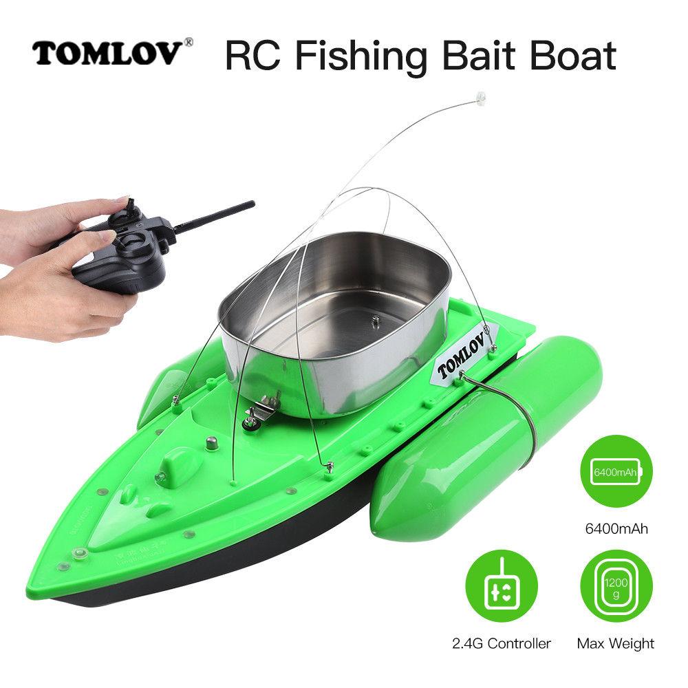 TOMLOV 2PCS 6400mAh T10W Fishing Bait Boat Lure Carp Hook Wireless Carrier 1200G Ship 300M Remote