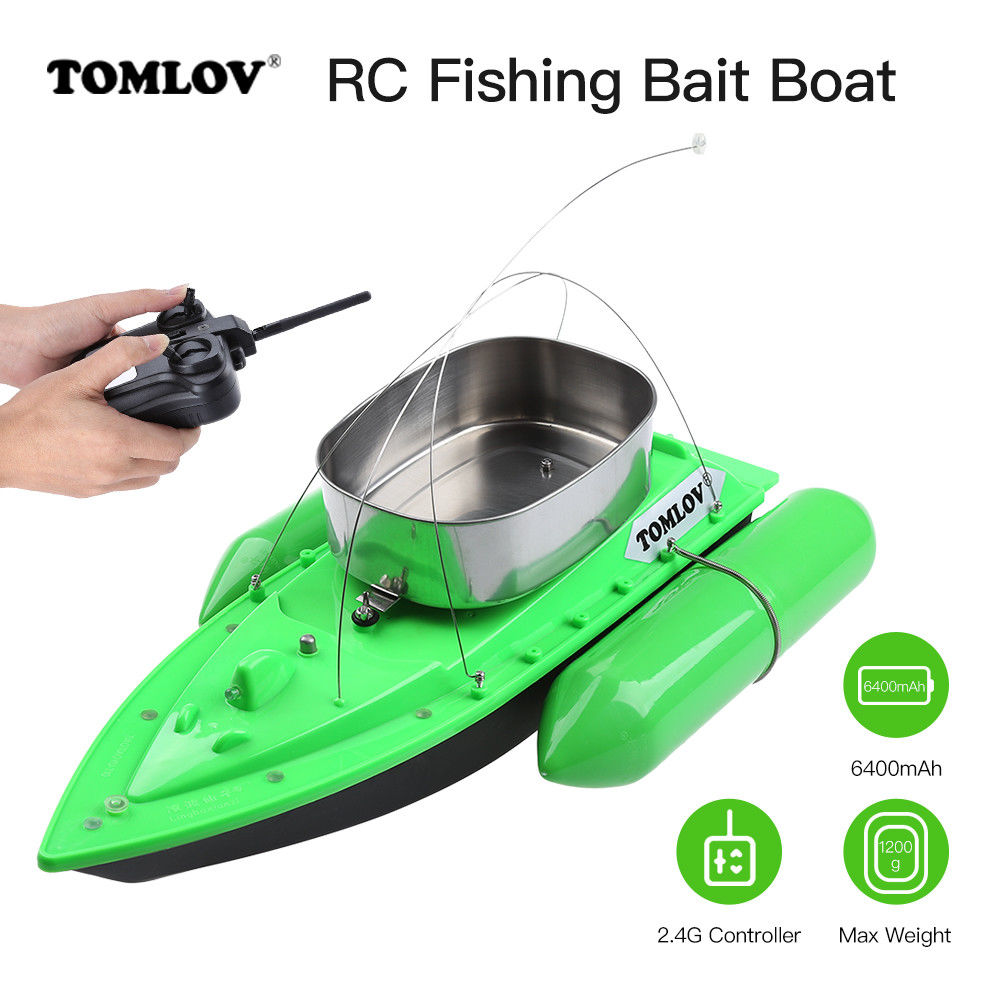 TOMLOV 6400mAh T10W Fishing Bait Boat Lure Carp Hook Wireless Carrier 1200G Ship 300M Remote Control For Fish Finder Ship mini fast electric fishing bait boat 300m remote control 500g lure fish finder feeder boat usb rechargeable 8hours 9600mah