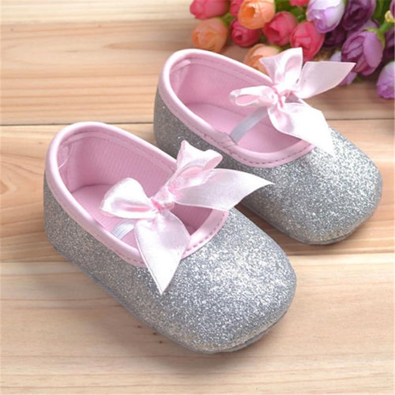 Baby Shoes Antiskid Soft-Sole Girls Cute Ribbon Bownot 3size Prewalker 2colors
