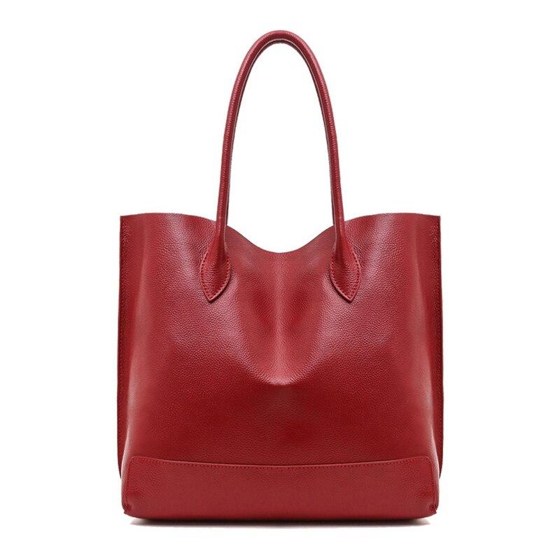 2019 femmes de luxe en cuir de vachette véritable Totes sac à main dame Simple doux Satchels sac haute capacité étanche sacs à provisions