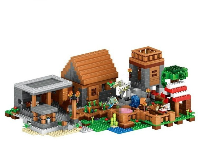 18010 79288 1106pcs The Village  Minecraft mini blocks Building Blocks kids Toys For Children birthday