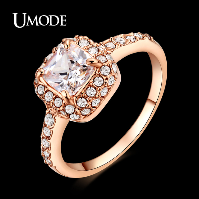 UMODE Rose Gold Color Princess Anelli Donna Cut Zircon Wedding Ring Surrounded by Austrian Crystals JR0014A