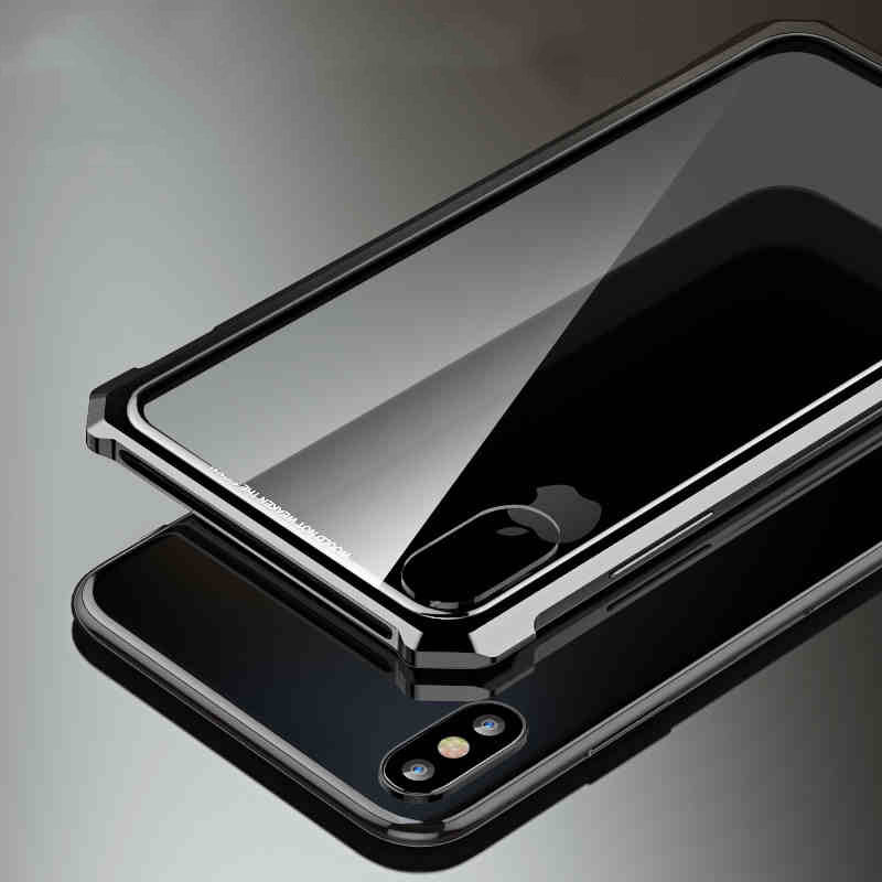 Image 2 - High end ultra thin metal frame Tempered glass mirror shell For  Iphone XS case cover FOR XS MAX FOR XR metal caseFitted Cases   -