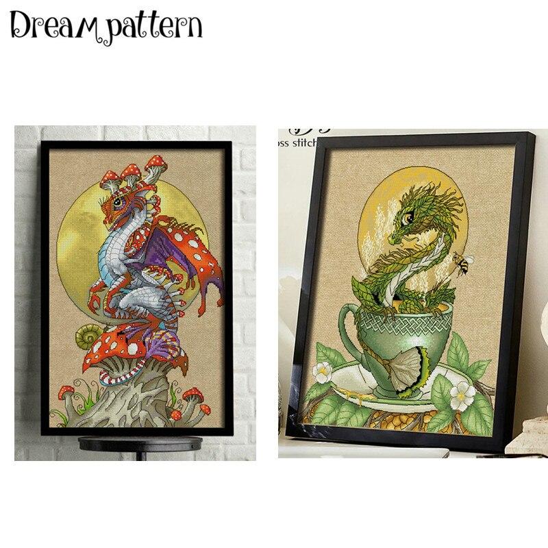 Dinosaur Dragon Cross Stitch Kit Cartoon Animal 14ct 11ct Count Flaxen Linen Canvas Stitching Embroidery DIY Handmade Needlework