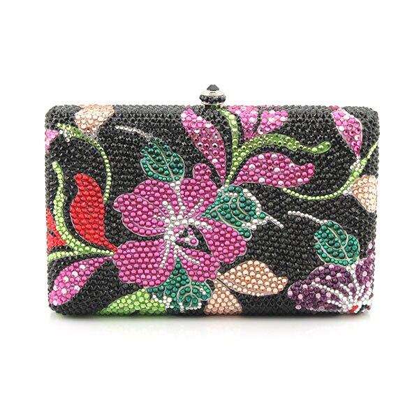 New Arrival Women Handmade Handbags Sliver Chains Flower Pattern Crossbody Bags Day Clutch Dinner Evening Bags(1016-BF )
