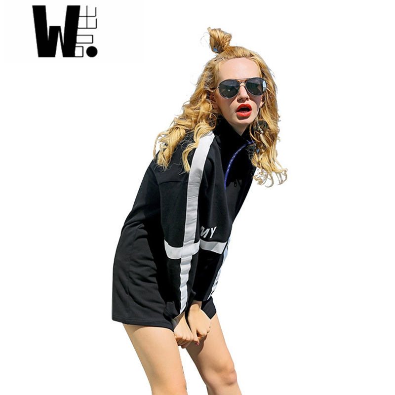2017 women's Spring Autumn new style street fashion casual original Letter printing wave brand sets hood cotton mini dress