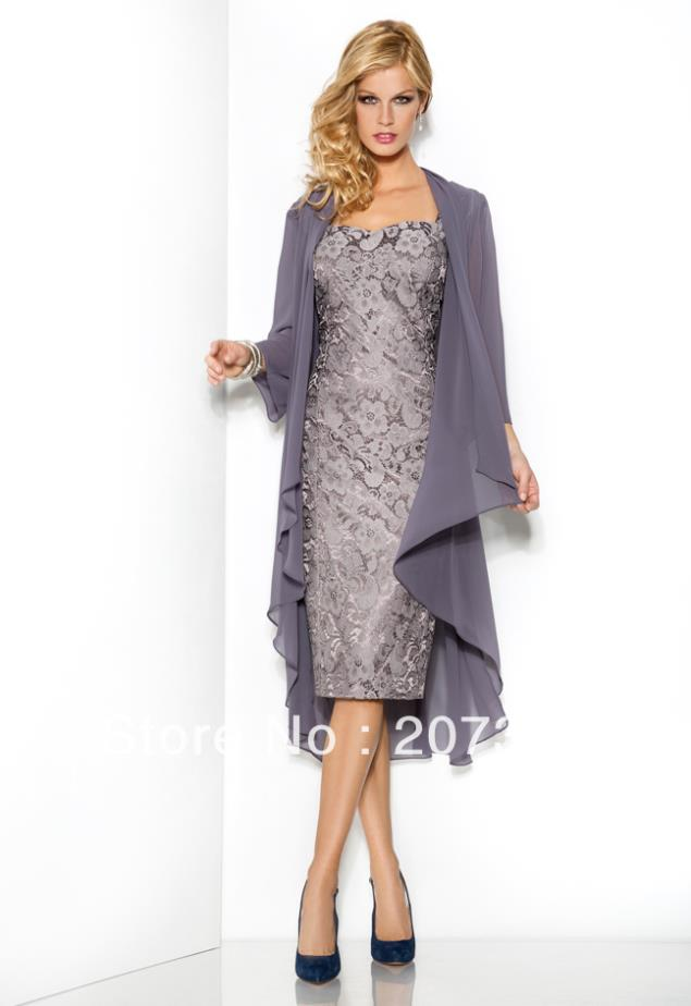 11d5e5c49e9 A line Lace Evening Dresses Full Jacket Knee Length Silver Chiffon And Lace  Short Elegant mother of the bride dress with jacket-in Mother of the Bride  ...