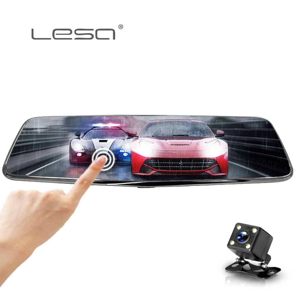 купить LESA 8inch Dual Lens Car DVR Camera Full HD 1080P Touch Screen Auto Video Recorder Rearview Vehicle Recorder Mirror DVR Dash Cam по цене 4079.17 рублей