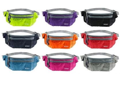 TEXU Waterproof Women Men Waist Packs Unisex  Nylon Zip Bag Waist Pack Pouch Travel Belt Bag