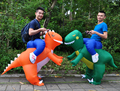 2017 NEW Inflatable Dinosaur Costumes for Adults Kids T-Rex Dinosaur Rider Airblown Outfit Men Women Party Halloween Fancy Dress