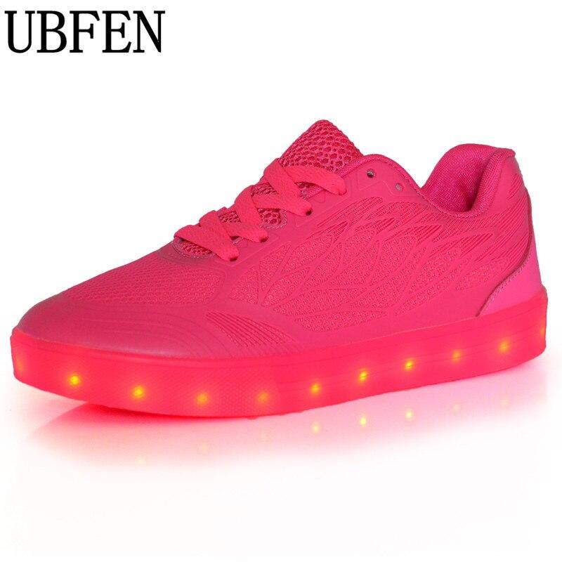 Llevó Los Zapatos Mujeres de La Manera Atan Para Arriba Zapatos Luminosos Brilla