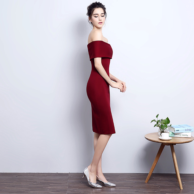 b1ef36782780 Causal Party Dresses Wine Red Slim Prom Gowns Women Summer Pencil Dress  Short Off Shoulder Evening Dress Robe De Soiree GQ811-in Evening Dresses  from ...