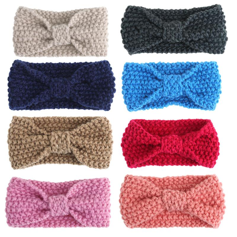 1 Pc Fashion Baby Knit Crochet Bow Headband Girl Princess Party Hair Bands Winter Warm Infant Headband Headwear Hair Accessories fashion bow dot hair sticker magic paste post fabric flower rabbit mini bb girl headband hair comb accessories 6pcs jewelry gift