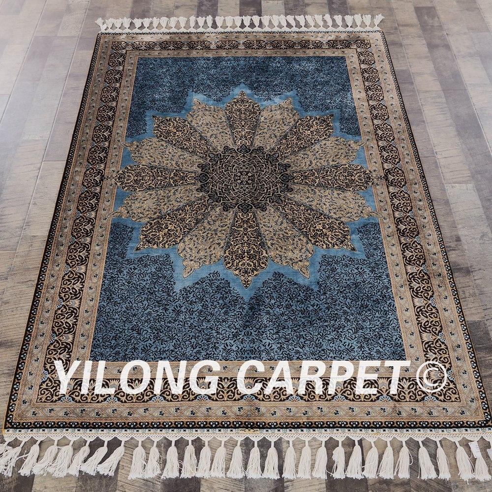 Yilong 4 X6 Noue A La Main Persan Bleu Tapis Turc Oriental
