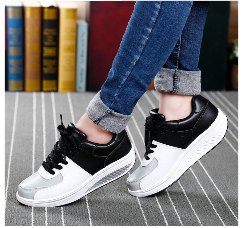 Patchwork Shake Shoes Woman New Leather Platform Women Casual Shoes Lace Up Slimming Ladies Shoes Size 35-40 Walking Shoes ZD61 (16)