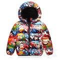 2016 crianças jaqueta de inverno para baixo menino das meninas da forma dos desenhos animados de algodão-acolchoado roupas para baixo do revestimento do revestimento 90-140