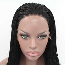 Sylvia 1b Color Synthetic Braided Lace Front Wigs For Women Heat Resistant Fiber Hair Wigs Premium
