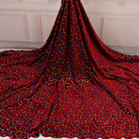 2019 Designs Red Latest Nigerian African Net Bridal Fabric Lace Sequin Velvet Fabric QF2742B 3