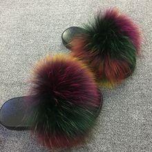 2019 Summer holiday Women Fox Fur Slippers 100% Real Fur Sli