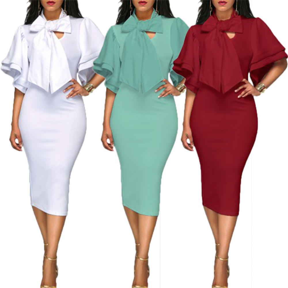 2017 Autumn Fashion Women Office Dresses Peplum Pencil Dress Lantern ...