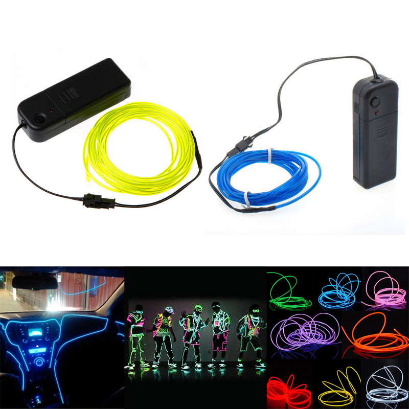 1M/2M/3M/5M Neon Light EL Wire 3V Flexible Rope Tape Cable Waterproof Shoes Clothing Car Led Strip Light1M/2M/3M/5M Neon Light EL Wire 3V Flexible Rope Tape Cable Waterproof Shoes Clothing Car Led Strip Light
