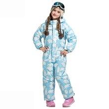 Спортивный костюм для мальчиков и девочек, детский лыжный костюм, водонепроницаемый ветрозащитный лыжный сноуборд, уличная теплая детская одежда, цельная детская одежда
