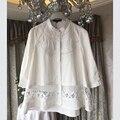 High-end Novo Bordado Oco Shirt Mulheres Tops Camisas Femininas 2017 Primavera Doce Branco Solto Camisa de Algodão Blusas 8897105