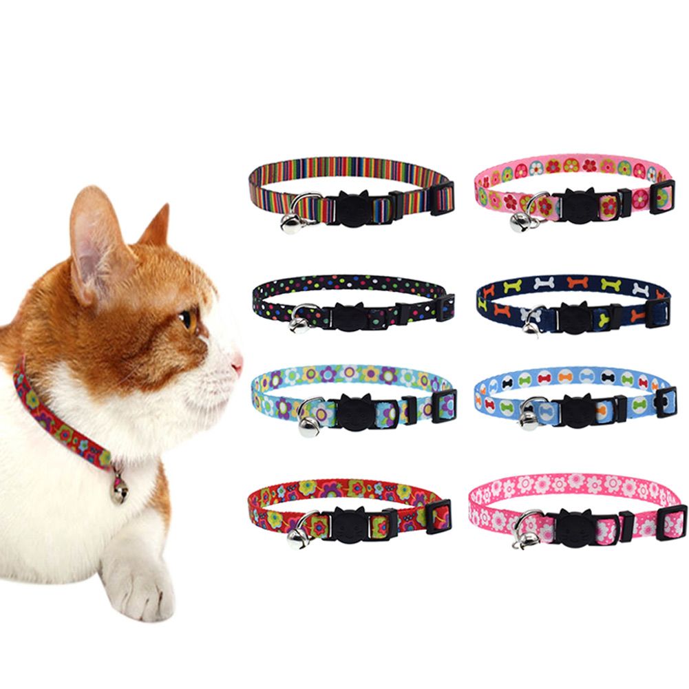 Cat Collar With Bell Safety Buckle Adjustable Kitten Small Dogs Cats Printing Collars Pet Supplies Lbshipping