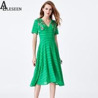 Novelty Sexy Dresses 2017 Summer White / Green Short Sleeve V-Neck Floral Embroidery Knee-Length New Ireegular Elegant Dress