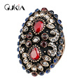 Luxury Crystal Flowers Vintage Ring Anillos Turkey Jewelry Plating Black Gold Natural Stone Bohemian Engagement Rings For Women