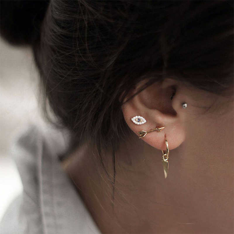 4 pièces/ensemble mode flèche oeil feuille perle cristal strass pendentif or boucles d'oreilles ensemble dame fête personnalité bijoux cadeau