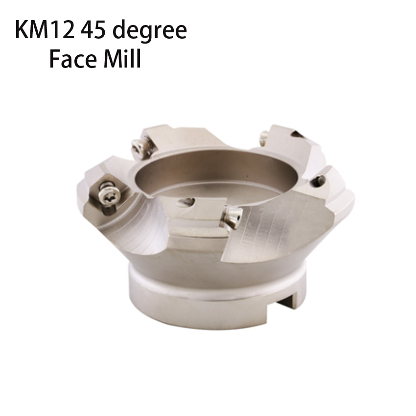 Face end mill shoulder KM12 -80-27-5T 80mm 45 degree indexable face mill KM12 shoulder milling cutter for SEKT1204 carbide trs shk 25mm l 160mm indexable shoulder end mill arbor cutting tools for rdmt10t3 free shiping