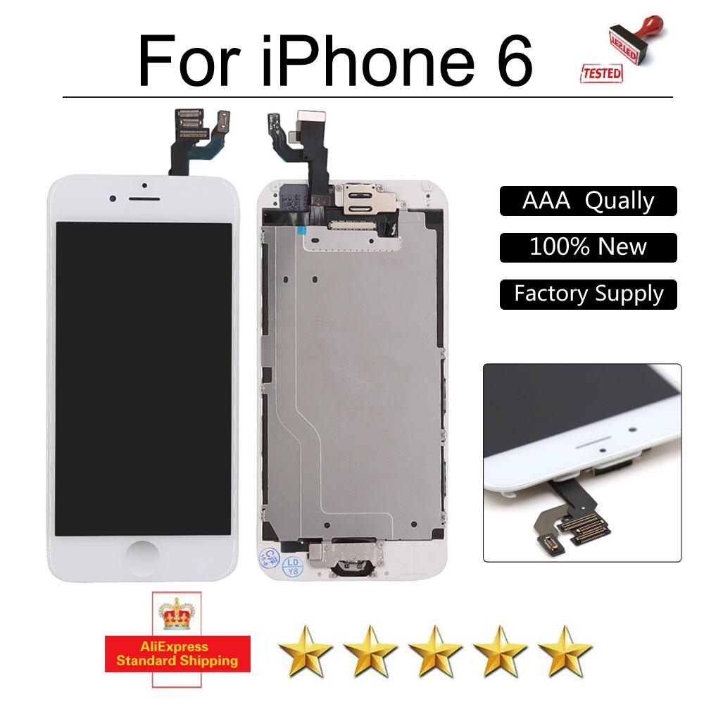 Prix pour Plein Testé AAA Pour iPhone 6 LCD Affichage Tactile Digitizer Pantalla Assemblée Blanc pour iphone6 6G Écran lcd + Bouton Home caméra