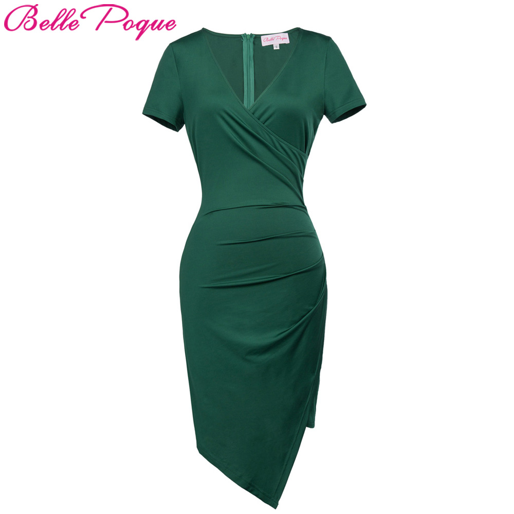 Belle Poque Women 1950s Bodycon Office Dress Short Sleeve Elegant Pleated Work Sexy Summer Female Casual Sheath Pencil Dresses
