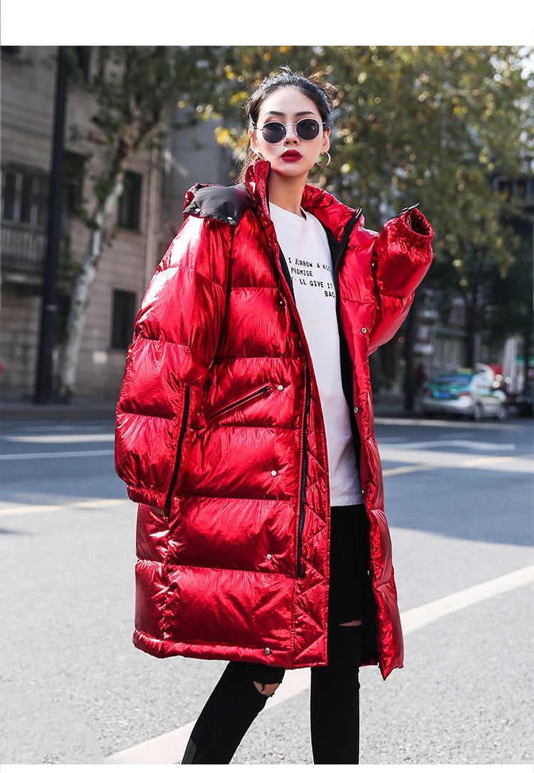 Женская зимняя куртка для девочек блестящая парка свободные куртки пальто с капюшоном ветрозащитное глянцевое уличная Женская Толстая Свободная куртка красного цвета
