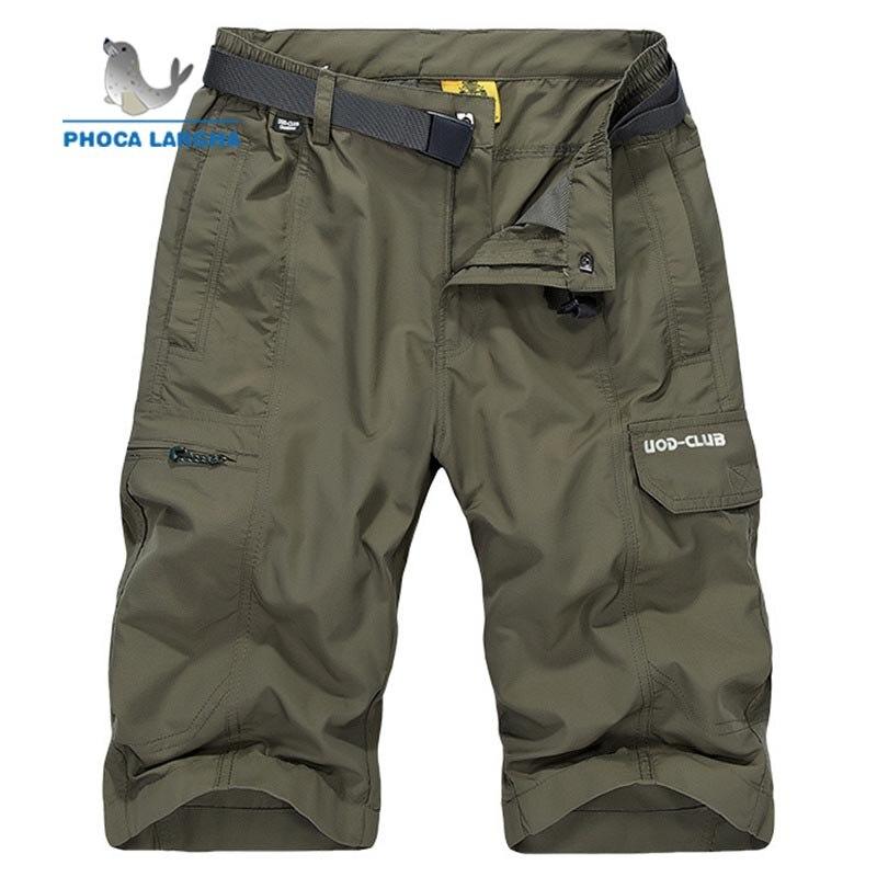 2019 Summer New Mens Cargo Shorts Multi-pocket Tactical Shorts Men Cotton Solid Color Loose Casual Short Pants Male (No Belt)