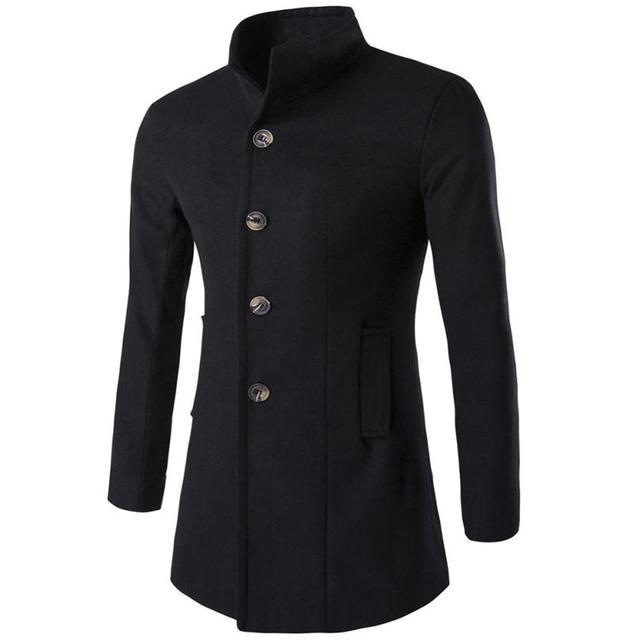 Nova lã inverno combina homens ternos de marca dress peacoat casacos casual homens longo engrossar casaco de lã quente longo casaco jan5