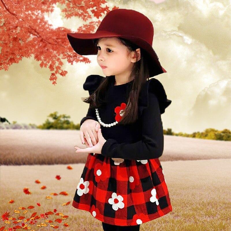 2d8261c614 Jesień Odzieży dziecięcej Dziewczyny Bawełna Dziecko Szkoła Wiatr Długi  Rękaw Czarna Sukienka Odzież Dla Dzieci