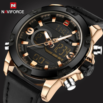 NAVIFORCE Men's Luxury Dual Time Display Waterproof Calendar Chronograph Leather Quartz Watches 1