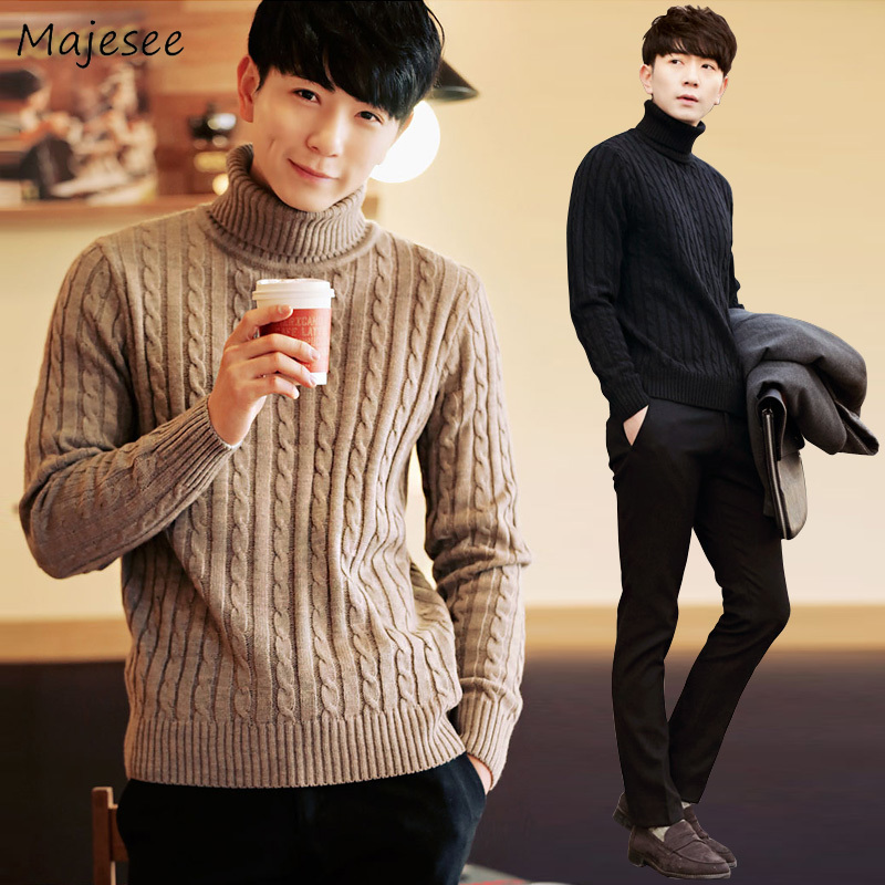 Sweaters Men Turtleneck Striped Simple Soft Warm All-match Korean Style Leisure Daily Sweater Mens Knitting Streetwear Clothing