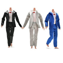 3 Pcs/set Fashion Prince Ken Doll Clothes Fashion Suit Cool Outfit For Doll Boy KEN Doll Best Children's Birthday Presents Gift(China)