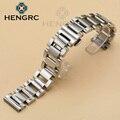 HENGRC Correas de reloj de Acero Inoxidable Reloj de Pulsera 20 22mm Pulido de Metal Moda de Las Mujeres Correa de Reloj de Los Hombres Relojes Banda Accesorios