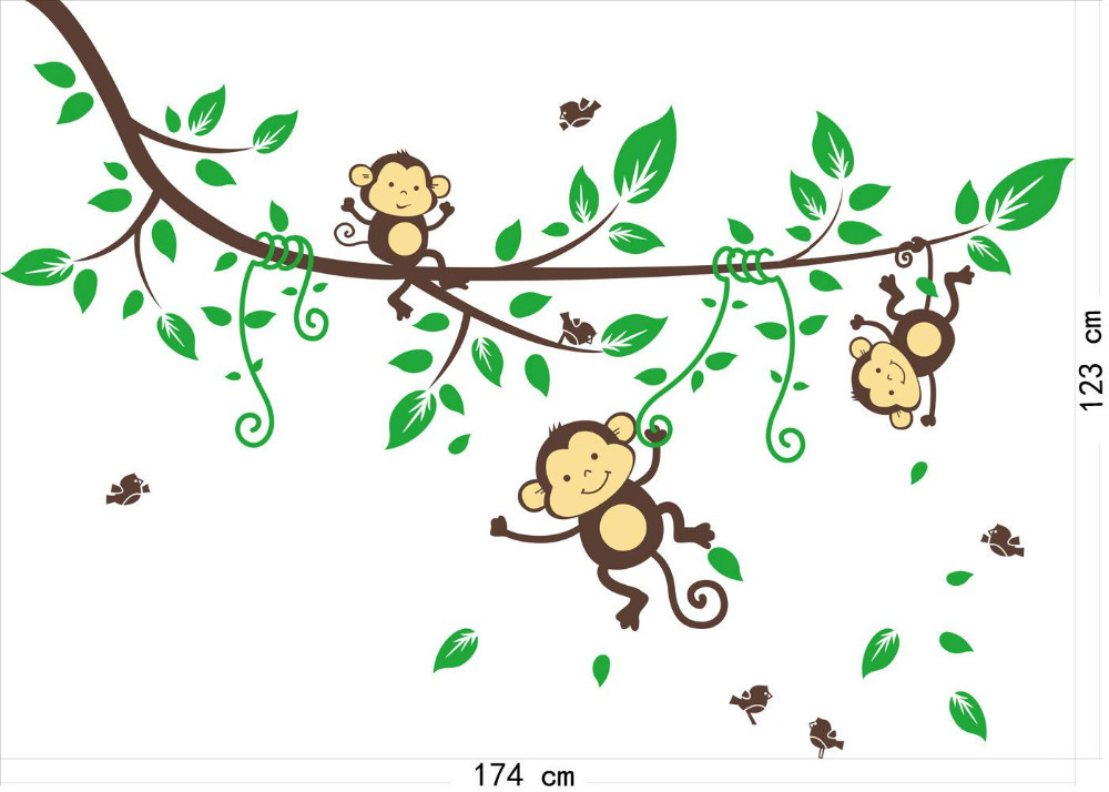 Cartoon Naughty Monkey Wall Sticker Baby Monkeys In The Jungle Wall Decal  Stickers Child Kids Children Gift Wall Covering In Wall Stickers From Home  ...