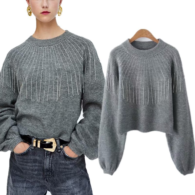 42a599c108 XQXON 2018 Autumn Women Lantern Sleeves Rhinestone Sweaters Gray Color Knit  Short Jersey Tassel Diamond Loose