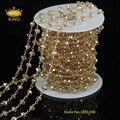 5 м провода обернуты бисером сеть позолоченные розария цепи имитация стеклянные бусины размер 4 x 6 мм для изготовления ювелирных изделий JD0138