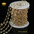 5 Meter Wire Wrapped Beaded Chain Gold Plated Rosary Chain Imitation Glass Beads Size 4x6mm for Jewelry Making JD0138