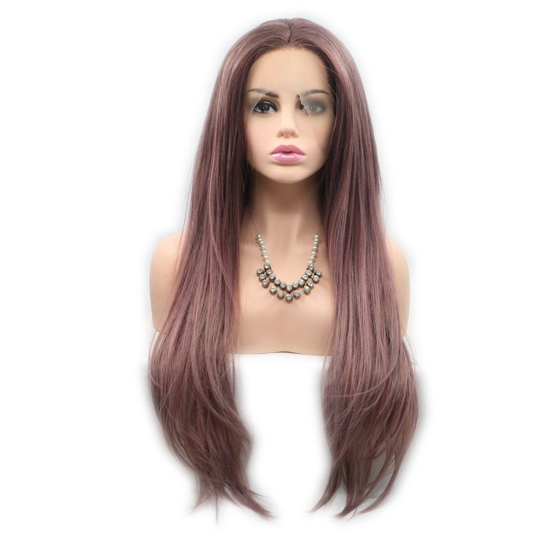 Sylvia Synthetic Lace Front Wigs Wood Color Natural Straight Hair Wigs Rose Brown Color Heat Resistant Fiber Soft Lace Long Hair