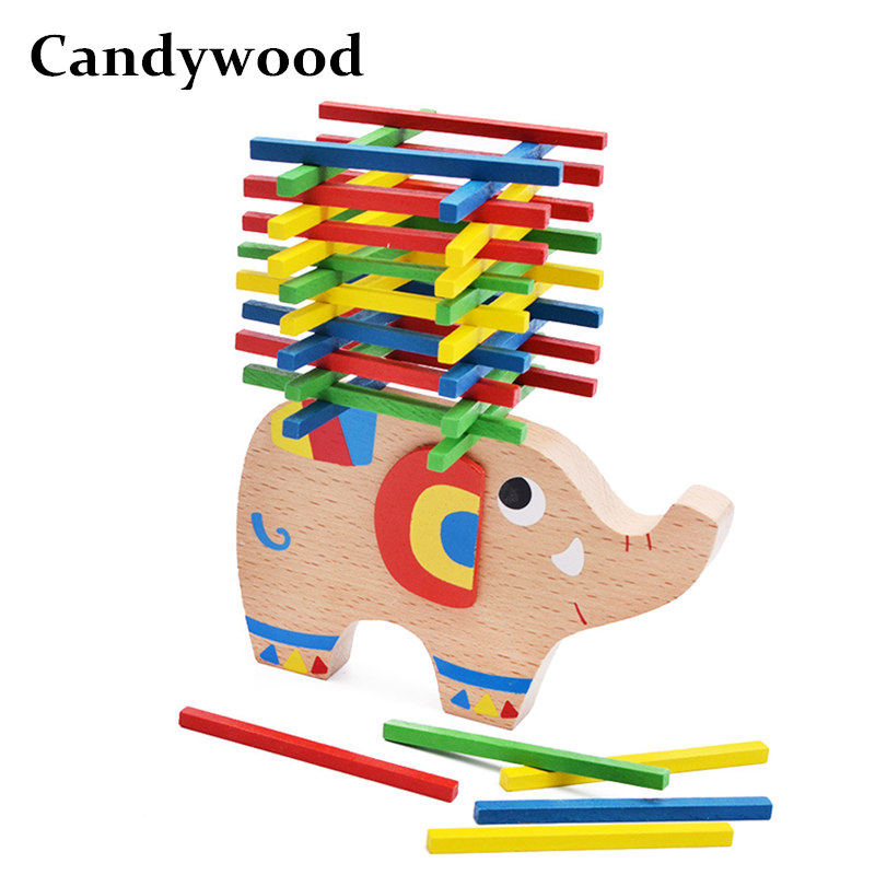 Candywood New Cartoon Animal Elephant Balancing Blocks Educational Wooden Toys For Children kids Montessori Balance Game toys dayan gem vi cube speed puzzle magic cubes educational game toys gift for children kids grownups