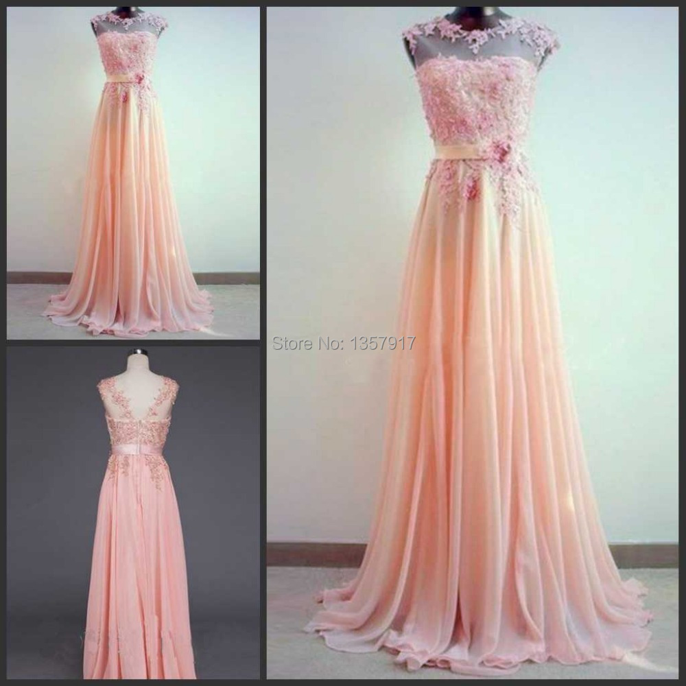 Online get cheap colorful bridesmaid dress aliexpress lace applique hand made wedding amazing light coral a line round neckline sweep train peach color long bridesmaid dresses 2015 ombrellifo Images