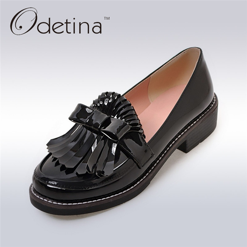 Odetina 2017 Fashion Patent Leather Chunky Low Heel Loafers Slip on Tassel Oxford Shoes Women Platform Brogues Fringed Round Toe high quality women oxfords low heel casual shoes patent leather tassel comfort slip on round toe creeper black loafers
